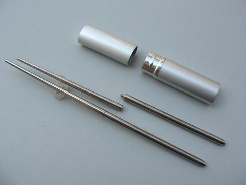 供應不銹鋼折疊筷,筆筒禮品餐具,便攜環保筷子,廣告促銷禮品筷