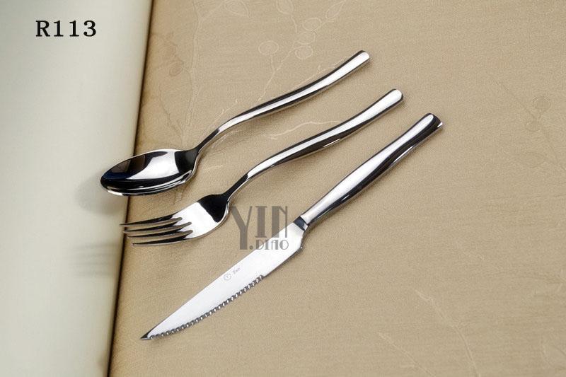 供應銀貂Zen星級店專用頂級不銹鋼刀叉勺自助餐用具