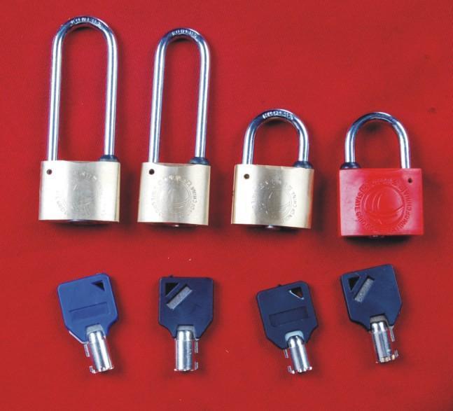 电力表箱挂锁 塑钢通开挂锁 梅花钥匙锁