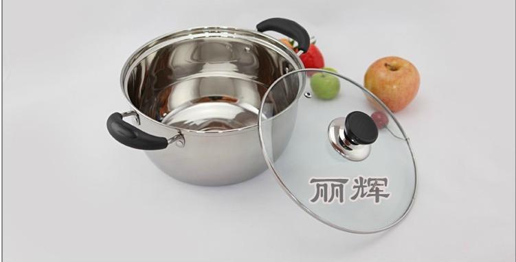 超市促销必选20CM韩式单底汤锅玻璃盖