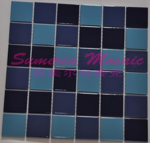 游泳池裝修-藍色陶瓷馬賽克 漸變陶瓷馬賽克拼花