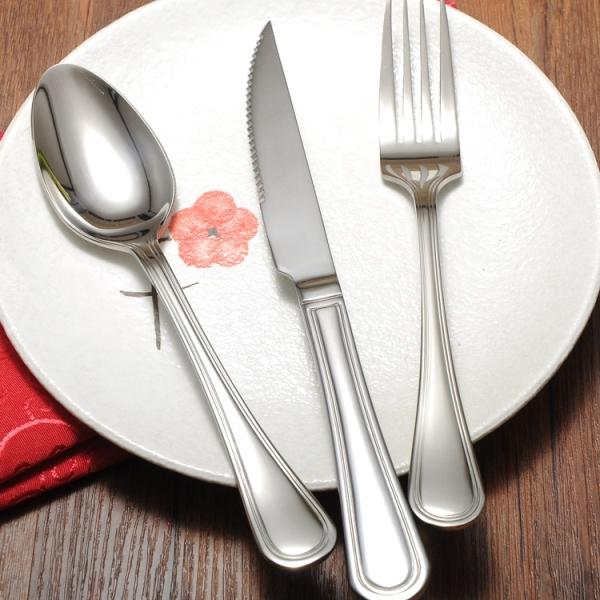 高档不锈钢刀叉勺三件套 西餐套装西餐刀+叉+勺更 水果刀叉