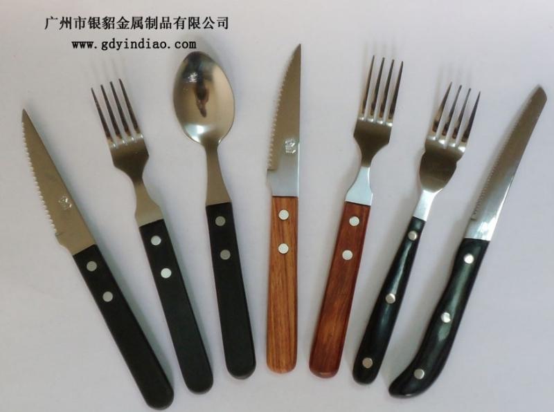 供应银貂红木木柄刀叉 西餐刀叉勺 鲍鱼刀叉勺餐具