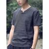 宸賢亞麻氣質中國風V領一字盤扣T恤純色棉麻短袖男式上裝