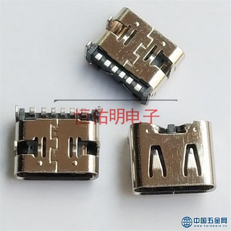 Type-c 6P短体母座 90度四脚 母座简易板