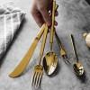 新品不銹鋼圣瑪德鍍金方柄西餐餐具刀叉甜品咖啡刀叉勺子