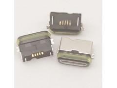 MICRO 5P B型防水座兩腳貼片式SMT半包外殼 帶膠圈