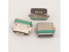 MICRO 5P 防水貼片式SMT母座全貼帶柱兩腳貼板帶膠圈