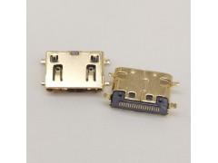MINI HDMI19P C型母座貼片SMT全貼四腳沉板鍍金