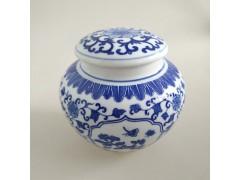 青花白瓷藥膏罐  圓形帶蓋陶瓷密封罐