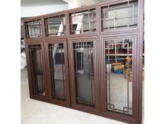 鋁合金仿古花格中式門窗 冠墅陽光新中式風格門窗源頭廠家定制